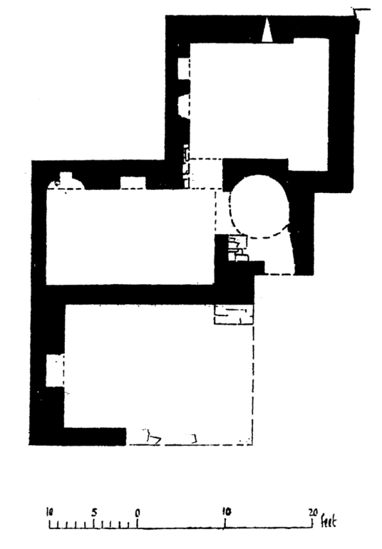 Plan of Helmsdale Castle was an old tower house, long a property of the Sinclairs and the scene of a famous poisoning, but it has been demolished, standing at the village of Helmsdale in Sutherland in the far northeast of Scotland.