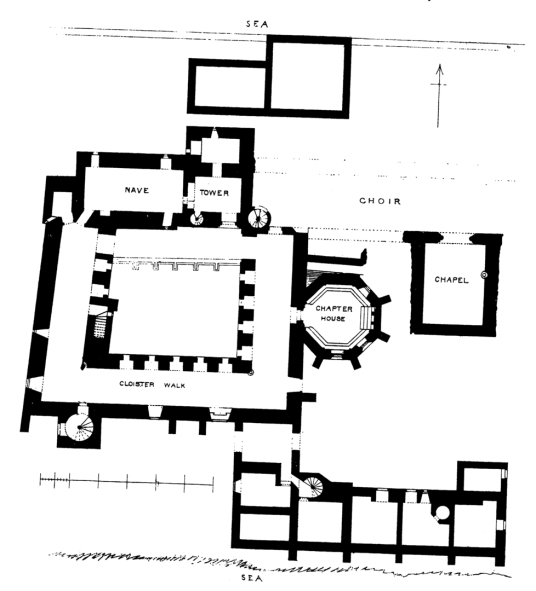 Ground floor plan of Inchcolm Abbey, a well-preserved and picturesque complex of buildings on an atmospheric island off the cost of Fife in the Firth of Forth,