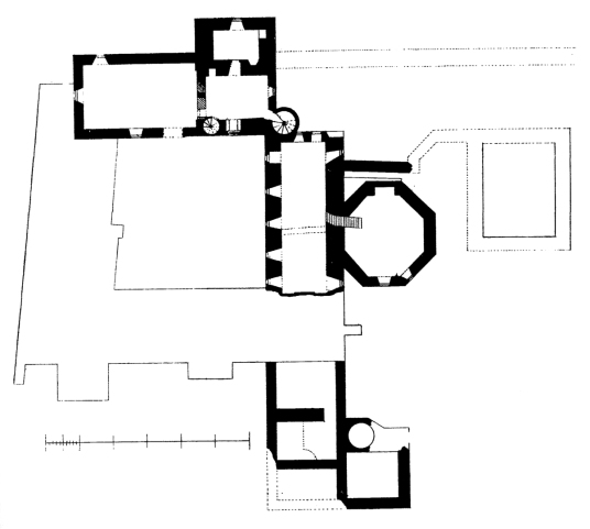 Plan of first floor, Inchcolm Abbey, a well-preserved and picturesque complex of buildings on an atmospheric island off the cost of Fife in the Firth of Forth,