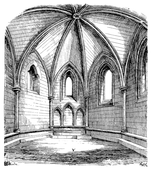 Inside of chapter house, Inchcolm Abbey, a well-preserved and picturesque complex of buildings on an atmospheric island off the cost of Fife in the Firth of Forth,
