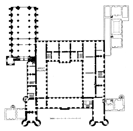 Plan of first floor, Palace of Holyroodhouse, a sumptuous royal residence, scene of the notorious murder of David Rizzio, secretary to Mary Queen of Scots, and still used by the present monarch Queen Elizabeth, at the foot of the famous Royal Mile in Edin