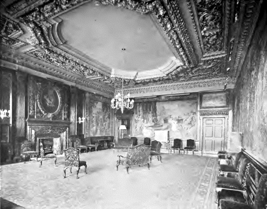 Withdrawing room, Palace of Holyroodhouse, a sumptuous royal residence, scene of the notorious murder of David Rizzio, secretary to Mary Queen of Scots, and still used by the present monarch Queen Elizabeth, at the foot of the famous Royal Mile in Edinbur