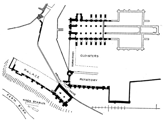 Plan of Dunfermline Palace and Abbey consists of the now ruinous royal palace and domestic buildings of the adjacent abbey, as well as the impressive church nave, in the heritage quarter of the burgh of Dunfermline in Fife