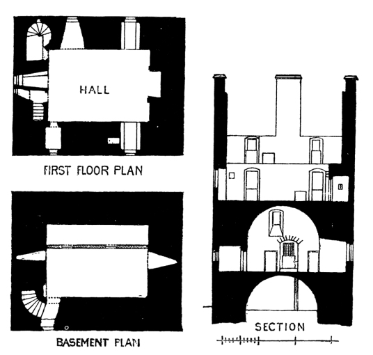 Plans and section, Spedlins Tower is a substantial restored old tower house, long held by the Jardine family, with a famous ghost story of Dunty Porteous, and some miles from Lochmaben in Dunfries and Galloway in southern Scotland.