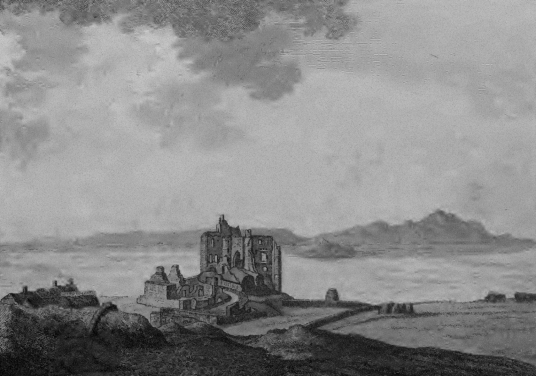 Dunure Castle, a picturesque but shattered ruinous old stronghold of the Kennedy family, in a pretty spot by the sea near Maybole in Ayrshire in southwest Scotland.