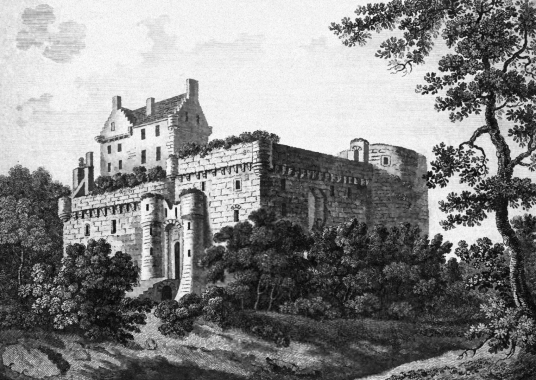 Dalhousie Castle is an old stronghold and comfortable mansion, long held by the Ramsays but now a hotel, set in wooded parkland, some miles from Bonnyrigg in Midlothian in central Scotland.