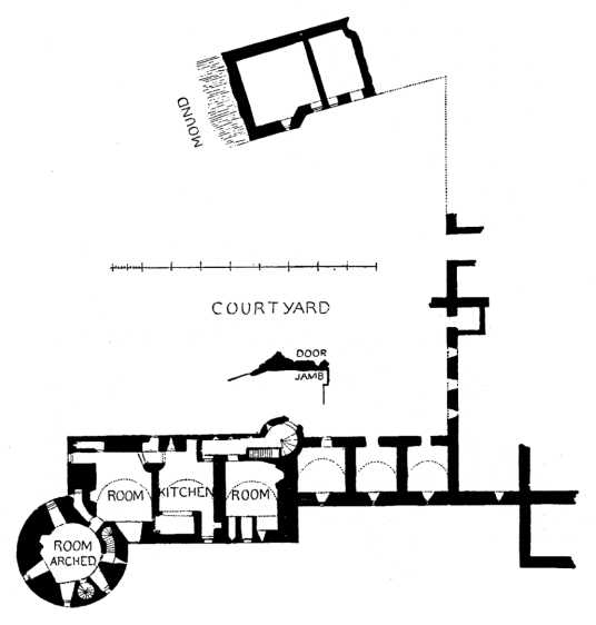 Ground floor plan of Huntly Castle, the ruin of a once magnificent and ornate palace and stronghold with a long and violent history, long held by the powerful Gordons of Huntly, near the Aberdeenshire burgh of Huntly in north-east Scotland.
