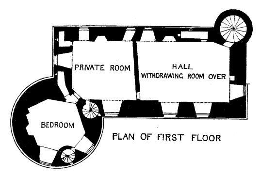 Plan of first floor, Huntly Castle, the ruin of a once magnificent and ornate palace and stronghold with a long and violent history, long held by the powerful Gordons of Huntly, near the Aberdeenshire burgh of Huntly in north-east Scotland.