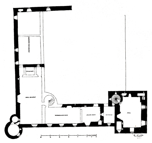 Plan of first floor, Edzell Castle, a substantial ruinous old stronghold of the Lindsay family with a fabulous walled garden, in a pretty peaceful spot neat the village of Edzell north of Brechin in Angus in Scotland.