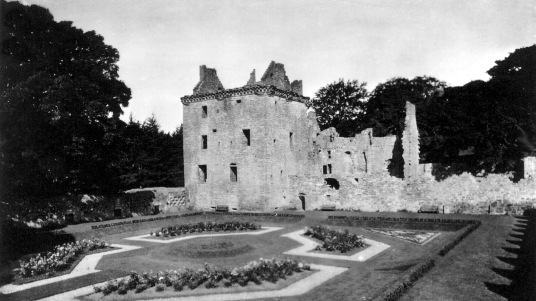 Garden, Edzell Castle, a substantial ruinous old stronghold of the Lindsay family with a fabulous walled garden, in a pretty peaceful spot neat the village of Edzell north of Brechin in Angus in Scotland.