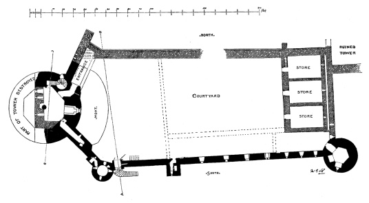 Plan of ground floor, Bothwell Castle, a fantastic, large but ruinous early stone castle in a great spot above the Clyde, held by the Murrays, Hepburns and Douglases, near Uddingston in Lanarkshire.