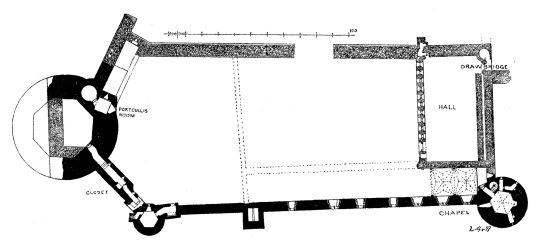 Plan of first floor, Bothwell Castle, a fantastic, large but ruinous early stone castle in a great spot above the Clyde, held by the Murrays, Hepburns and Douglases, near Uddingston in Lanarkshire.