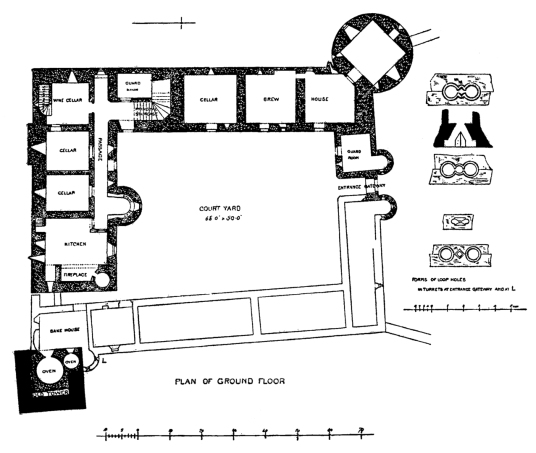 Plan of ground floor, Tolquhon Castle, a substantial ruinous courtyard castle with a large tower and some fantastic stone carving on the gatehouse, held by the Preston family and then by the Forbeses, in a quiet spot near Tarves (Tarves Tomb) in Aberdeens