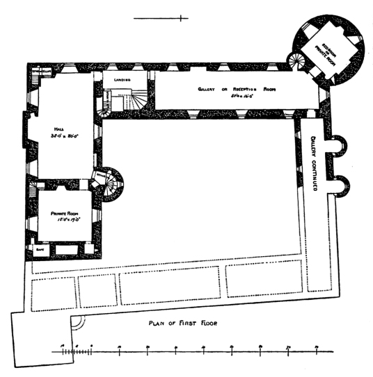 Plan of first floor, Tolquhon Castle, a substantial ruinous courtyard castle with a large tower and some fantastic stone carving on the gatehouse, held by the Preston family and then by the Forbeses, in a quiet spot near Tarves (Tarves Tomb) in Aberdeensh