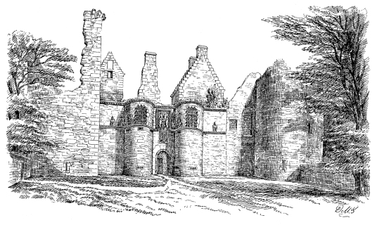 Tolquhon Castle is a substantial ruinous courtyard castle with a large tower and some fantastic stone carving on the gatehouse, held by the Preston family and then by the Forbeses, in a quiet spot near Tarves (Tarves Tomb) in Aberdeenshire in northeast Sc
