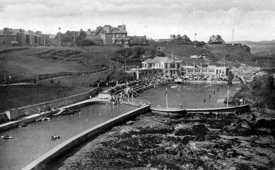 Site of outdoor pool, by Dunbar Castle is a picturesque, once strong but now very ruinous old stronghold, built on rocky crags by the mouth of the harbour, besieged by the English in 1333 and associated with Mary Queen of Scots, by the harbour in the East