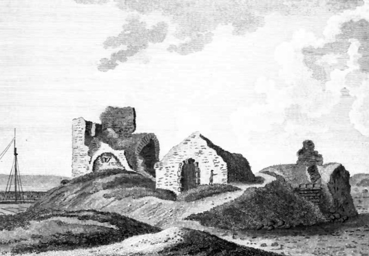 Ruins of old church, The Lodge, North Berwick, an attractive grouping of whitewashed buildings in expansive gardens and public parkland, long held by the Dalrymples and in the popular seaside town of North Berwick in East Lothian in southeast Scotland.