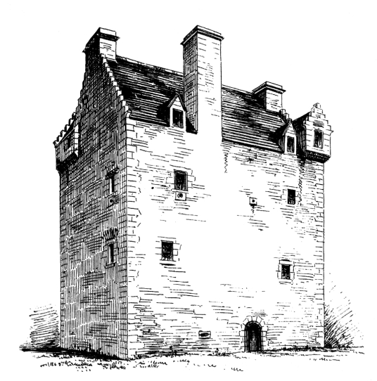 Aikwood Tower (Oakwood Tower) is a fine old tower house in a pretty spot, long held by the Scott family but now a B&B, near Selkirk in the Borders of Scotland.