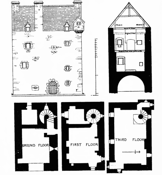 Plans of Aikwood Tower (Oakwood Tower), a fine old tower house in a pretty spot, long held by the Scott family but now a B&B, near Selkirk in the Borders of Scotland.