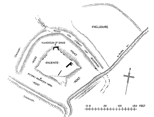 Plan of old castle, Caerlaverock Castle, an impressive and romantic old ruinous castle of the Maxwell family, near Dumfries.