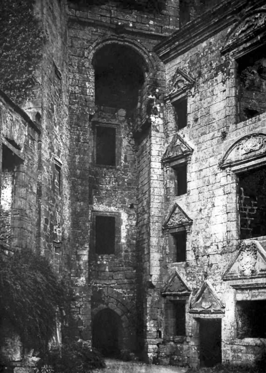 Courtyard, Caerlaverock Castle, an impressive and romantic old ruinous castle of the Maxwell family, near Dumfries.