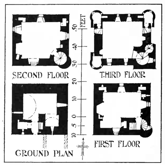 Plans, Amisfield Tower, a large, impressive, well-preserved and elaborate old tower house, by Amisfield House, a later mansion, long a property of the Charteris family, and located in a fine spot near Dumfries in southern Scotland.