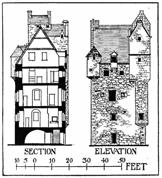 Elevation and plan, Amisfield Tower is a large, impressive, well-preserved and elaborate old tower house, by Amisfield House, a later mansion, long a property of the Charteris family, and located in a fine spot near Dumfries in southern Scotland.