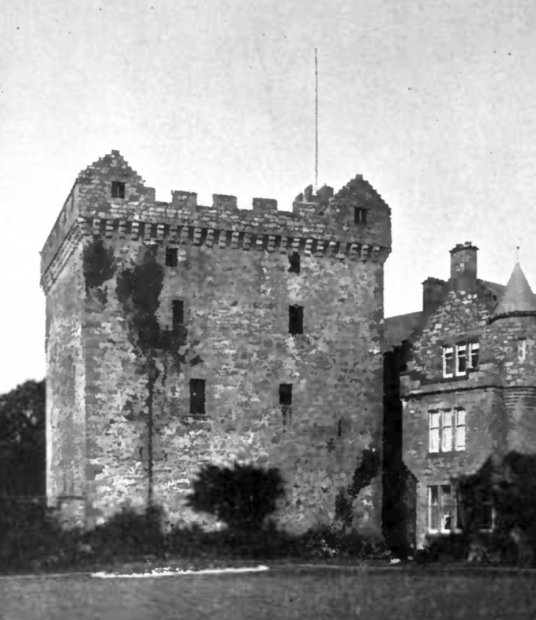 Comlongon Castle, a large old tower and later mansion, long a property of the Murrays, now a hotel and located in a pleasant spot near Dumfries, and site of a well-documented ghost story.