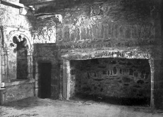 Hall fireplace, Comlongon Castle, a large old tower and later mansion, long a property of the Murrays, now a hotel and located in a pleasant spot near Dumfries, and site of a well-documented ghost story.