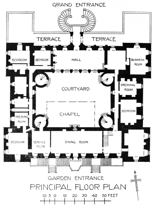 Plan, Drumlanrig Castle, a magnificent old baronial mansion in expansive lovely parkland and gardens, held by the Douglases then by the Scott Dukes of Buccleuch, near Thornhill in Dumfries and Galloway.