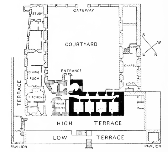 Plan, Traquair House, a fabulous homely old castle and house, long a property of the Stewarts and associated with Mary, Queen of Scots, in lovely grounds near Innerleithen in the Borders of Scotland.