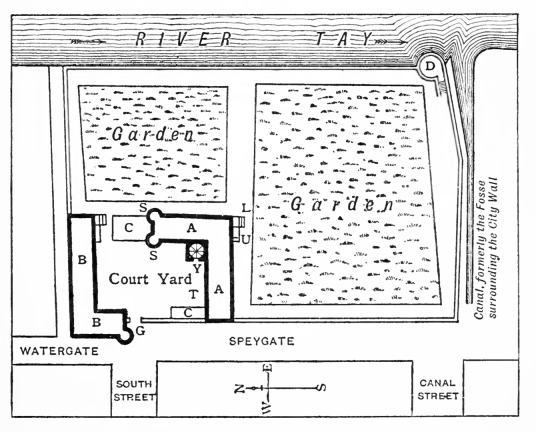 Plan, Gowrie House was a magnificent townhouse in Perth, built by the Countess of Huntly, but going to the Ruthvens, scene of the infamous Gowrie Conspiracy, but demolished in the 19th century.