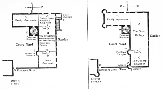 Plans, Gowrie House was a magnificent townhouse in Perth, built by the Countess of Huntly, but going to the Ruthvens, scene of the infamous Gowrie Conspiracy, but demolished in the 19th century.