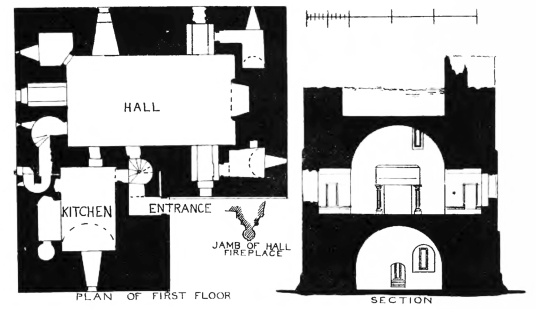 Plan and elevation of Cessford Castle, a brooding, atmospheric and once strong medieval stronghold, long held by the Kerr family who built Floors Castle, and now in a peaceful location near Kelso in the Borders in southern Scotland.