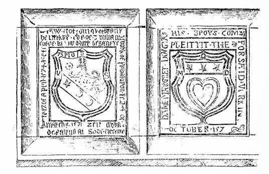 Heraldic panels, Branxholme Castle, a fine old castle and mansion, long held by the Scotts of Buccleuch, in a pretty wooded spot near Hawick in the Borders of Scotland.