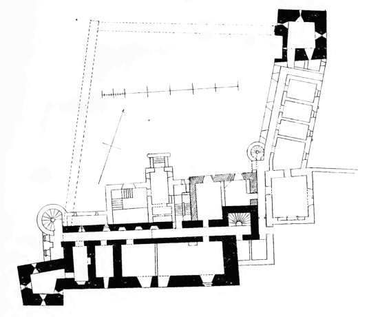 Plan of Branxholme Castle, a fine old castle and mansion, long held by the Scotts of Buccleuch, in a pretty wooded spot near Hawick in the Borders of Scotland.