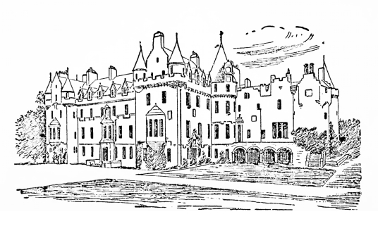 Cortachy Castle, a magnificent old castle and mansion in a pretty spot with fine gardens, long held by the Ogilvies of Airlie, and near Kirriemuir in Angus in northeast Scotland.