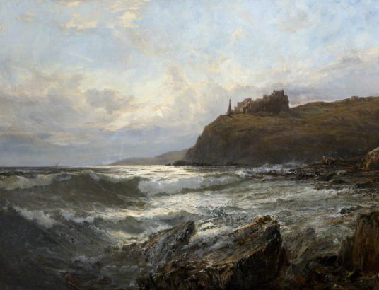 Tantallon Castle by Claude Hayes (1852-1922), photo credit: Torre Abbey Historic House and Gardens, CC BY-NC-SA, source: artuk.org