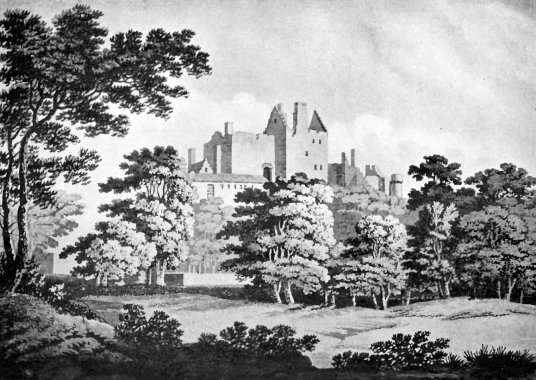 Craigmillar Castle, a grand but ruinous castle with a large tower and two courtyards, held by the Prestons and the Gilmours, and associated with Mary Queen of Scots, in the Craigmillar area of Edinburgh.