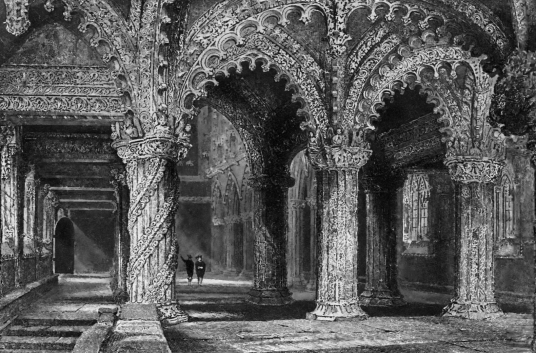 Interior of Rosslyn Chapel, near Roslin Castle, an impressive, partly ruinous old stronghold on a rock above the River Esk, long held by the Sinlcairs and near the beautiful and intricately carved Rosslyn Chapel