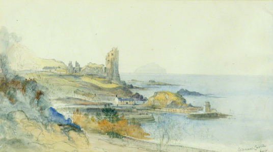 Dunker Castle, Ayr  by James Duffield Harding (1798–1863), Photo credit: The Stirling Smith Art Gallery & Museum, CC BY-NC-ND, source: artuk.org