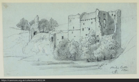 Drawing of Hailes Castle by James Drummond, 1840, Society of Antiquaries of Scotland, source:  http://canmore.org.uk/collection/1461134