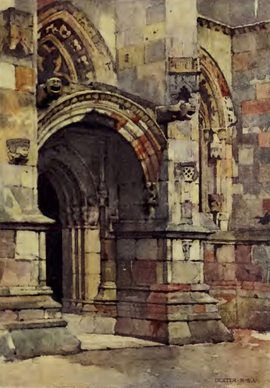 Rosslyn Chapel, near Roslin Castle, an impressive, partly ruinous old stronghold on a rock above the River Esk, long held by the Sinlcairs and near the beautiful and intricately carved Rosslyn Chapel