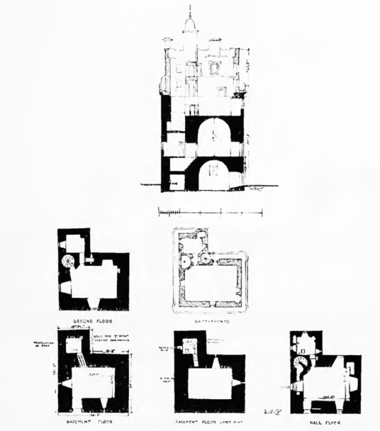 Plans and section, Preston Tower, a tall, impressive and grim old tower house, long held by the Hamiltons and in fine gardens in Prestonpans in East Lothian in eastern Scotland.
