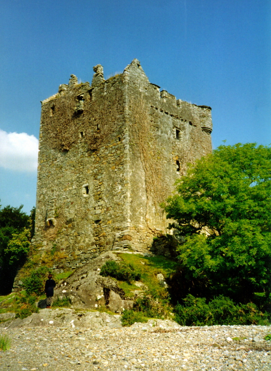 Moy Castle, a stark old ruinous tower in a fantastic scenic location by the sea, long a property of the MacLaines, at Lochbuie, on the south coast of the Hebridean island of Mull.
