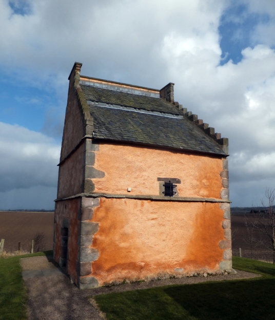 Doocot, dovecote, Athelstaneford is a pretty village in a scenic spot, site of an old castle of the Hepburns, with an attractive church and doocot, now home to a presentation about the saltire, the flag of Scotland, some miles from Haddington in East Loth