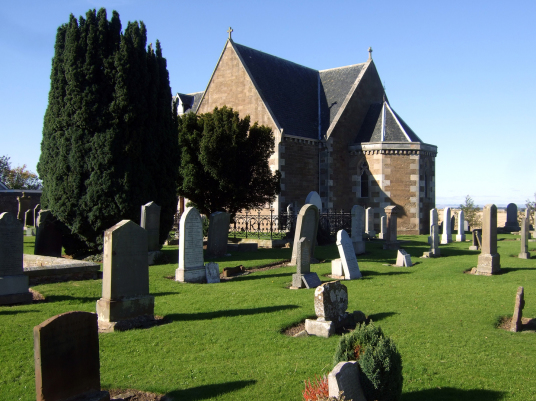 Church, Athelstaneford is a pretty village in a scenic spot, site of an old castle of the Hepburns, with an attractive church and doocot, now home to a presentation about the saltire, the flag of Scotland, some miles from Haddington in East Lothian in sou