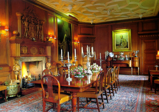 Dining Room, Ballindalloch Castle, an impressive stronghold and homely mansion in lovely wooded grounds, long a property of the Macpherson Grants, and near Charlestown of Aberlour in Moray in northern Scotland.