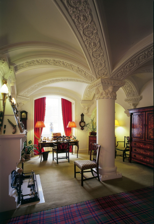 Umbrella Hall, Ballindalloch Castle, an impressive stronghold and homely mansion in lovely wooded grounds, long a property of the Macpherson Grants, and near Charlestown of Aberlour in Moray in northern Scotland.