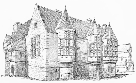 Reconstruction, Earl's Palace, near the Bishop's Palace, a fabulous complex of two ruinous palaces by St Magnus Cathedral in Kirkwall, the capital of Orkney.